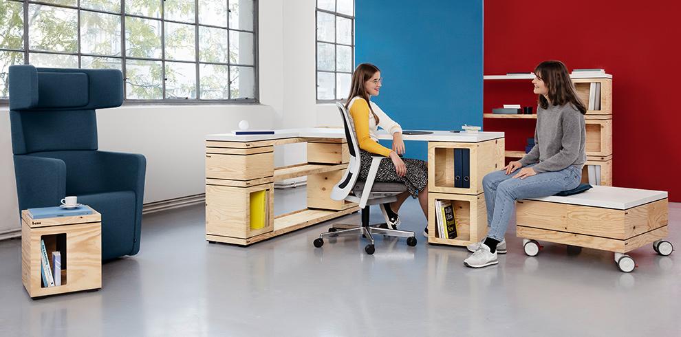 Collection Pixel, Bene Cubes amovibles en tables, chaises